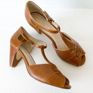 Chelsea Crew peep toe ankle strap heels
